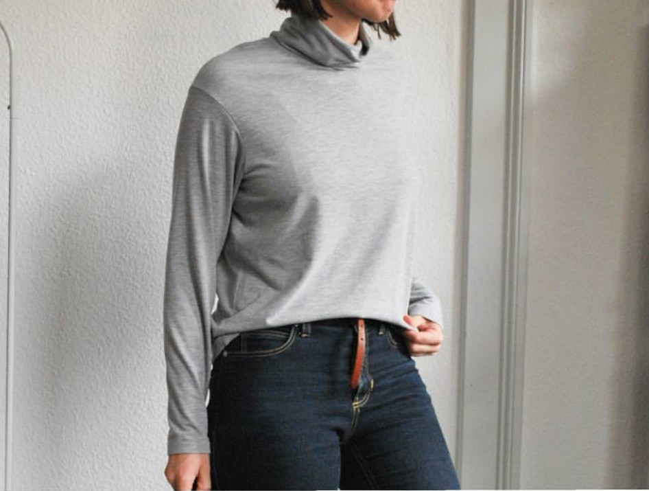 TISSU JERSEY VISCOSE GRIS CLAIR CHINE PAR @CASSANDREV.HANDEMADE / PATRON FALLTURTLENECK PAPER CUT PATTERNS